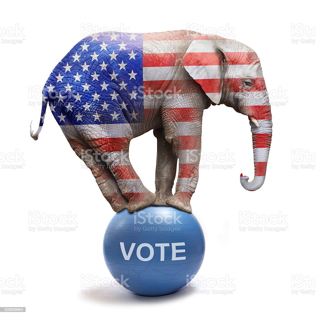 Republican elephant. stock photo