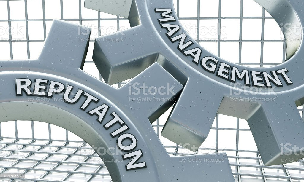 Reputation Management Concept on the Mechanism of Metal Cogwheel stock photo
