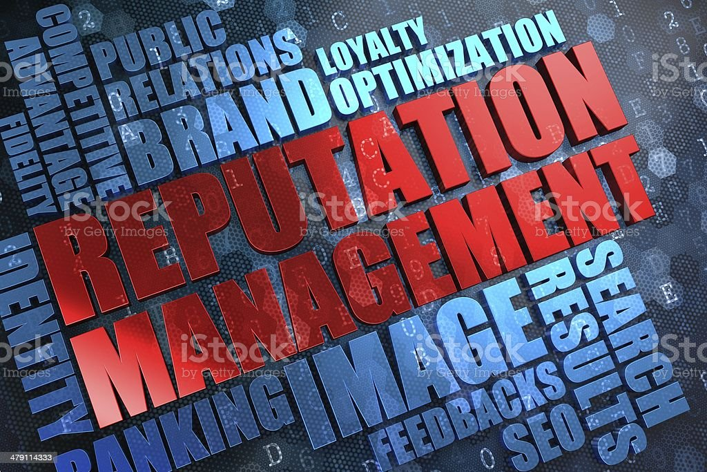 Reputation Management - Wordcloud Concept. stock photo
