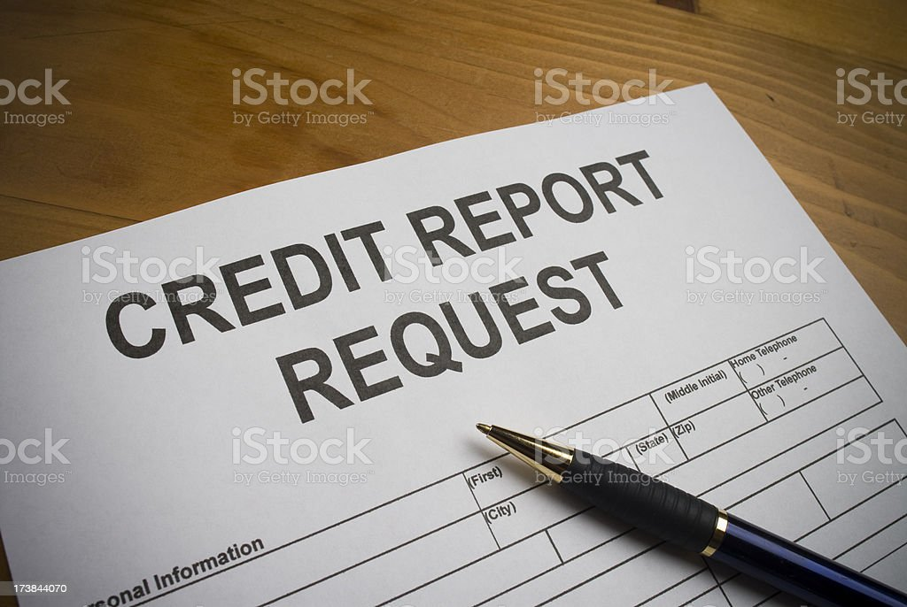 Request for a Credit Report stock photo