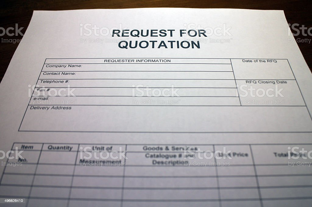 Request For Quotation Form Stock Photo 496826410 | Istock