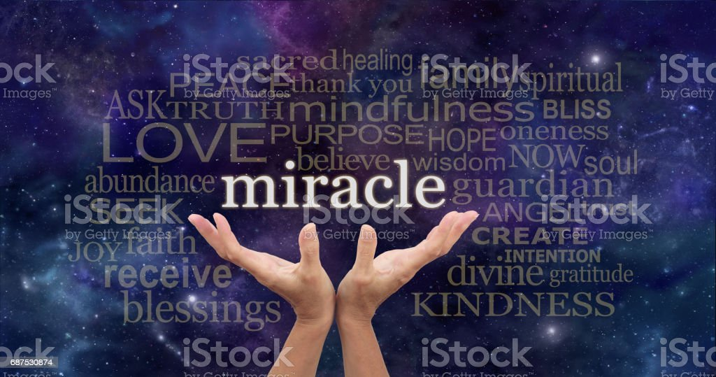 Requesting a Miracle Word Cloud stock photo