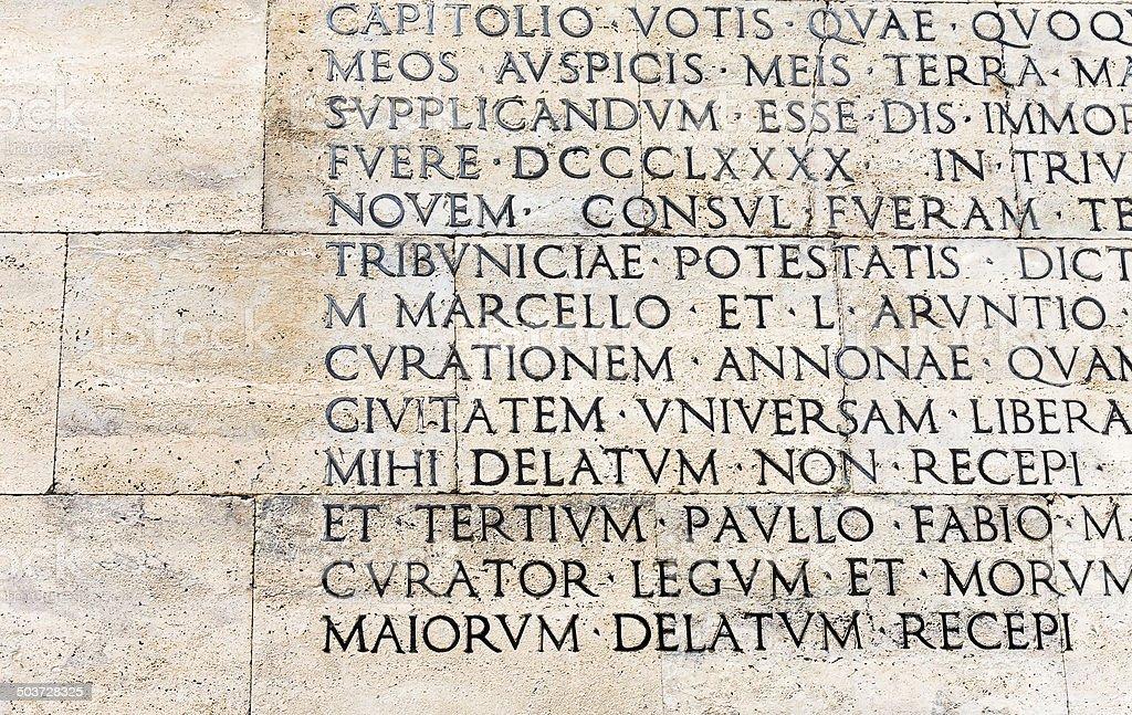 Res Gestae Divi Augusti stock photo