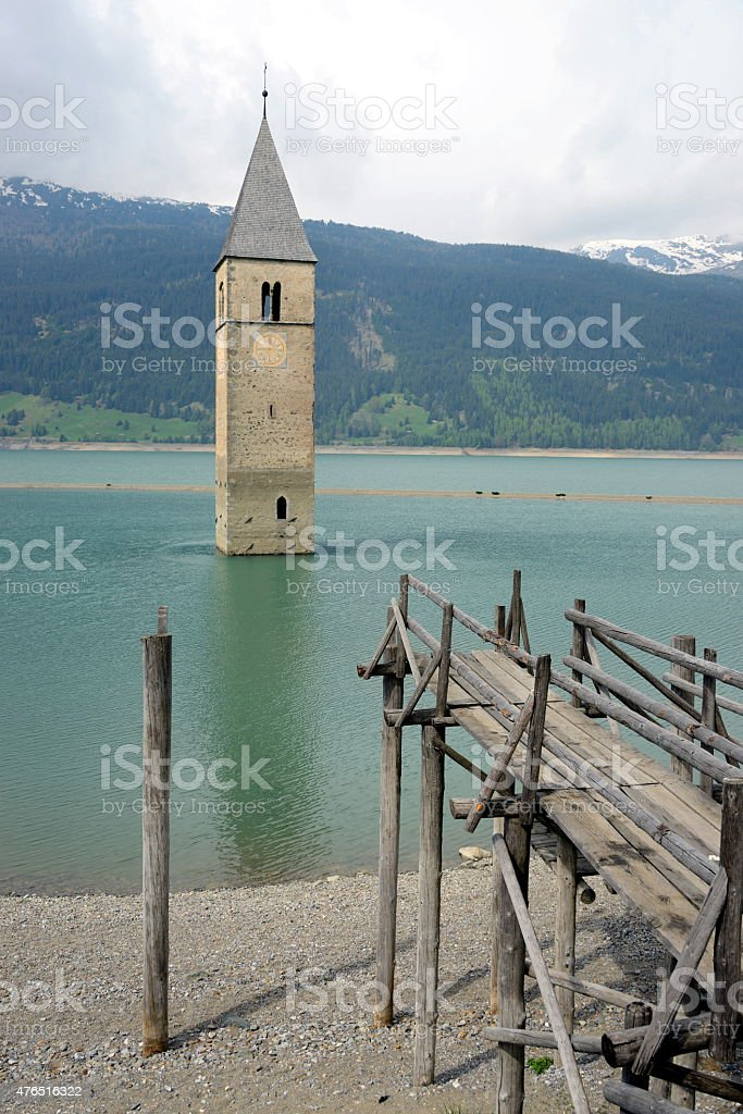 Reschensee, Italy stock photo
