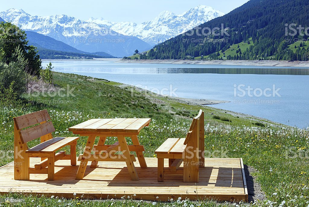 Reschensee summer landscape (Austria). royalty-free stock photo