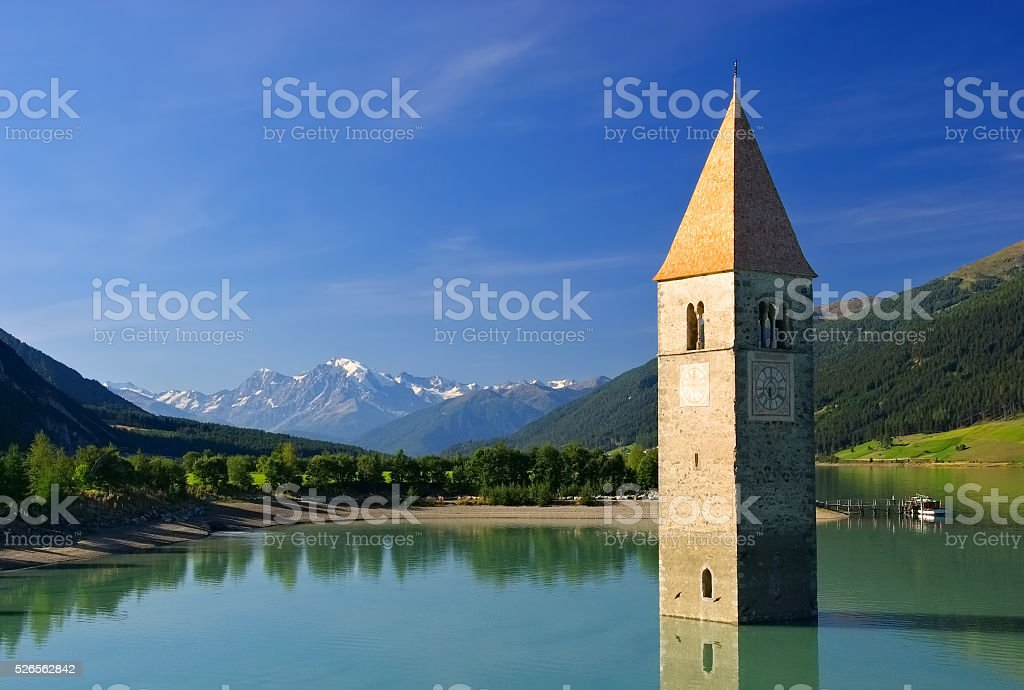 Reschensee with church stock photo