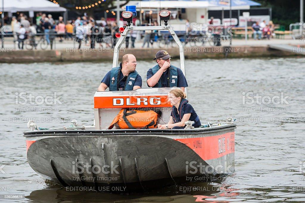 DLRG Rescue boat and lifeguards, Wasserrettung stock photo