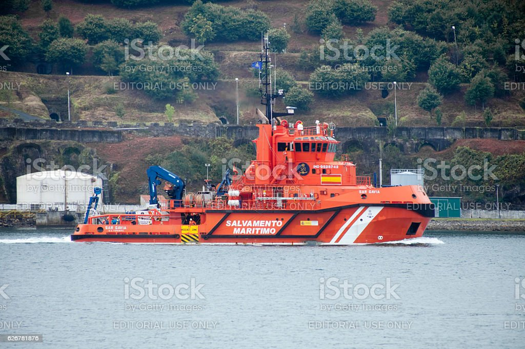 Rescue boat, Galicia, Spain. stock photo