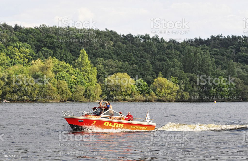 rescue boat of German Life Saving Association (Berlin - Germany) stock photo