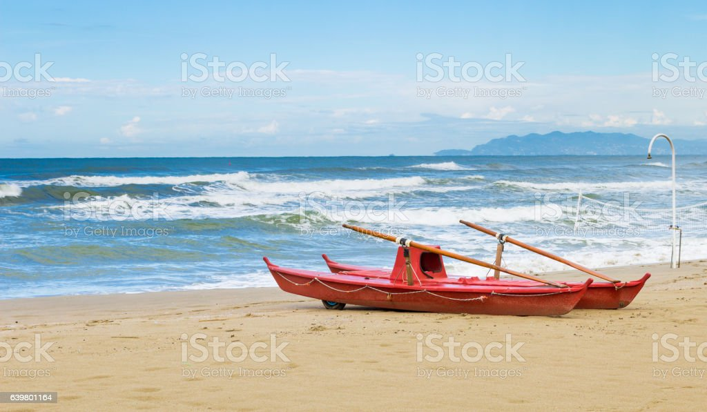 Rescue boat on the beach stock photo