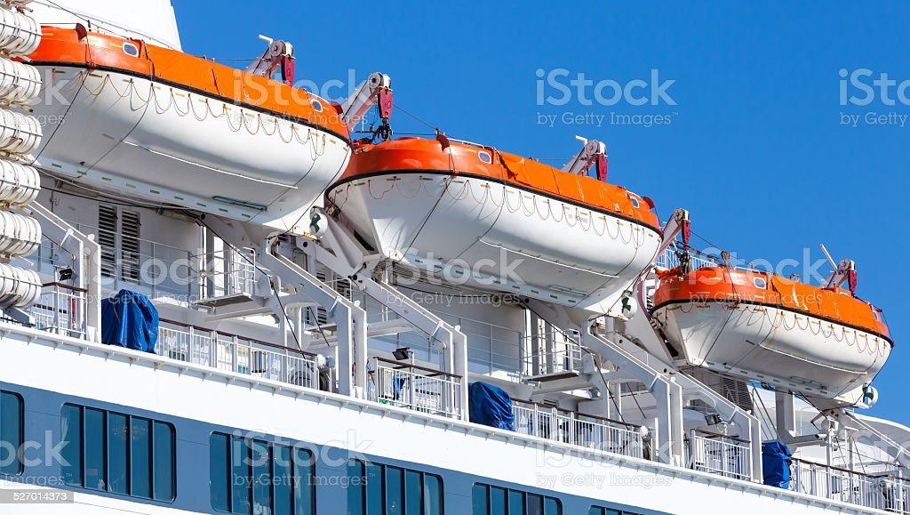 Rescue boats on big passenger ship stock photo