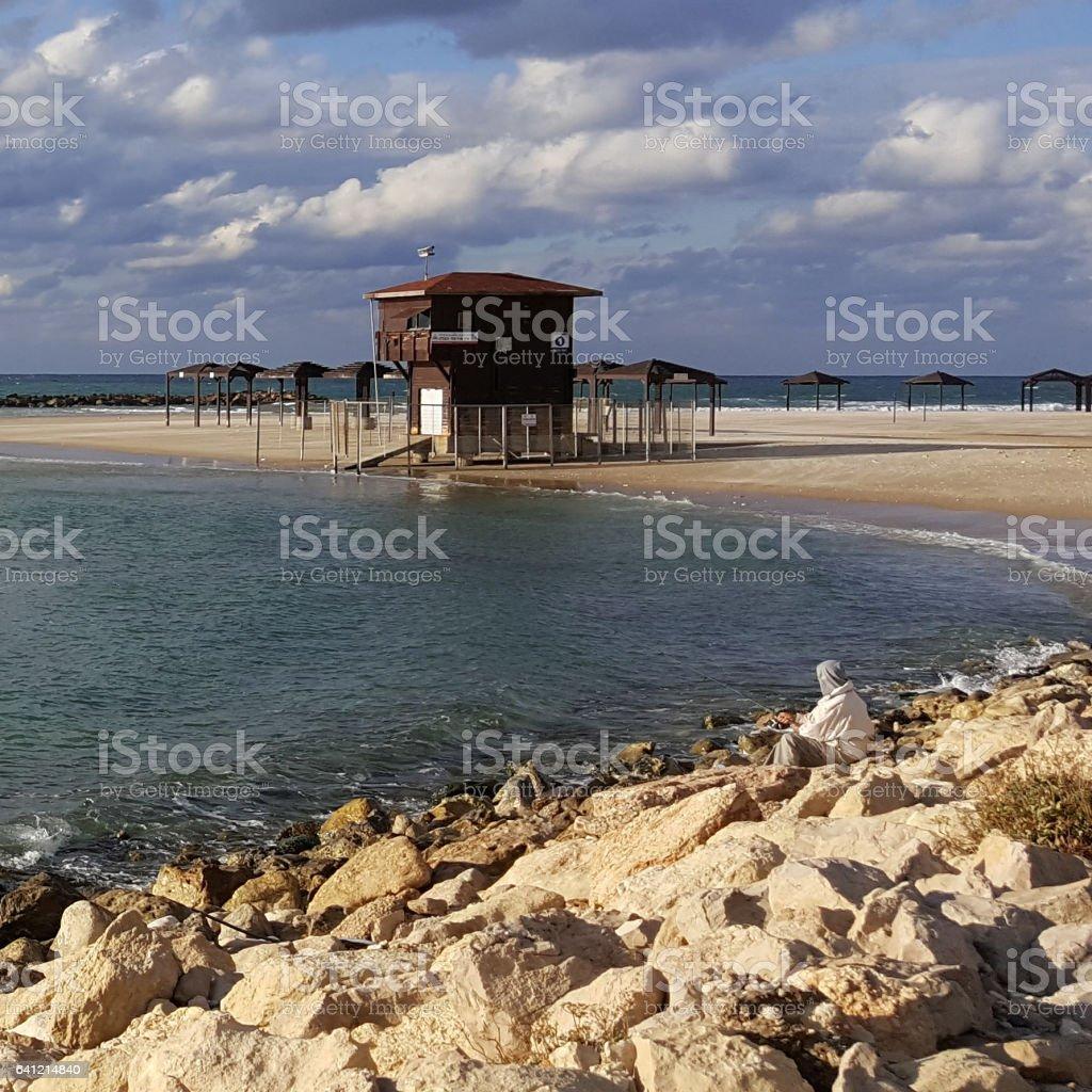 Rescue booth, Mediterranean Sea shore, fisherman, Haifa, Israel stock photo