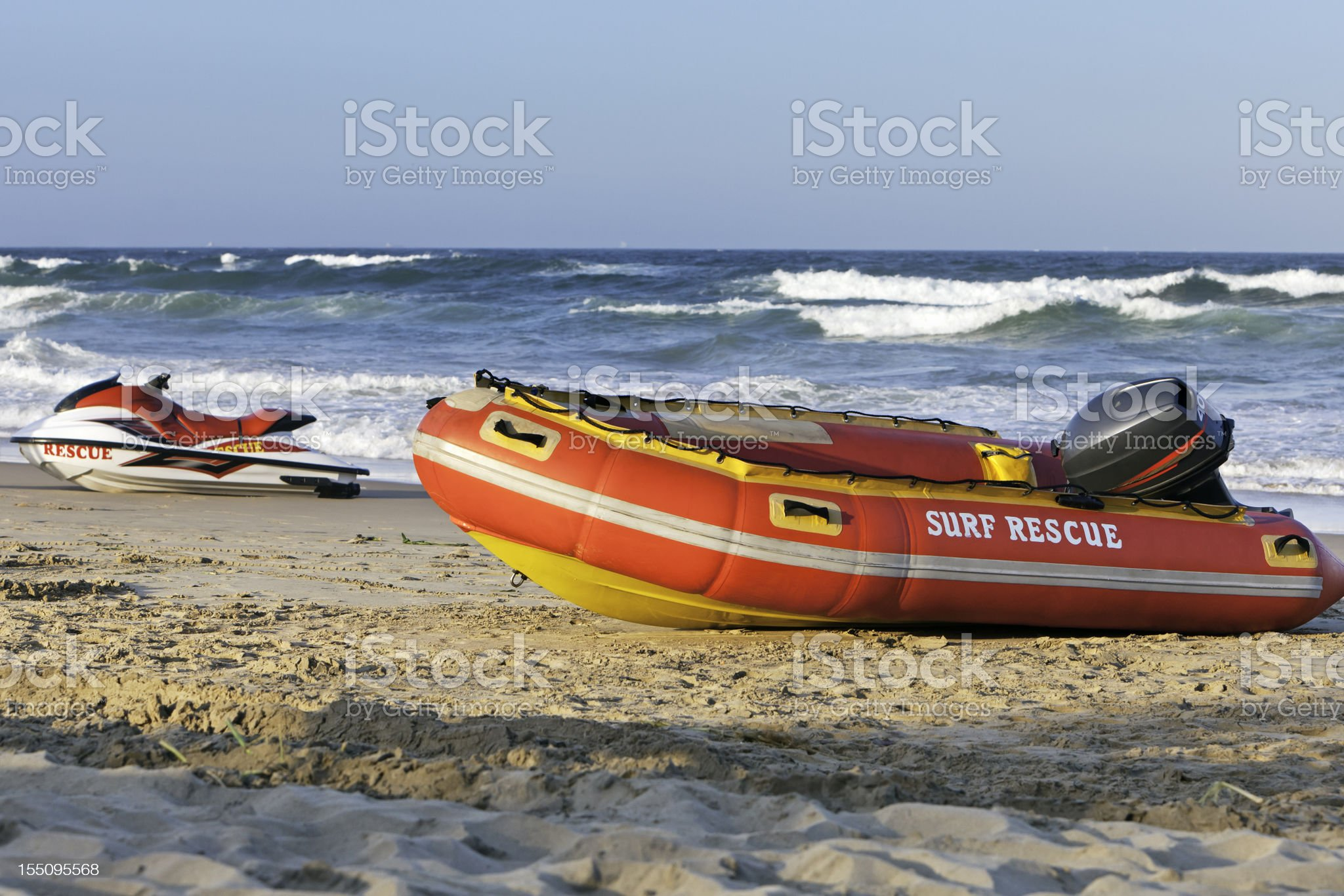 Rescue Dinghy raft and a wet bike royalty-free stock photo