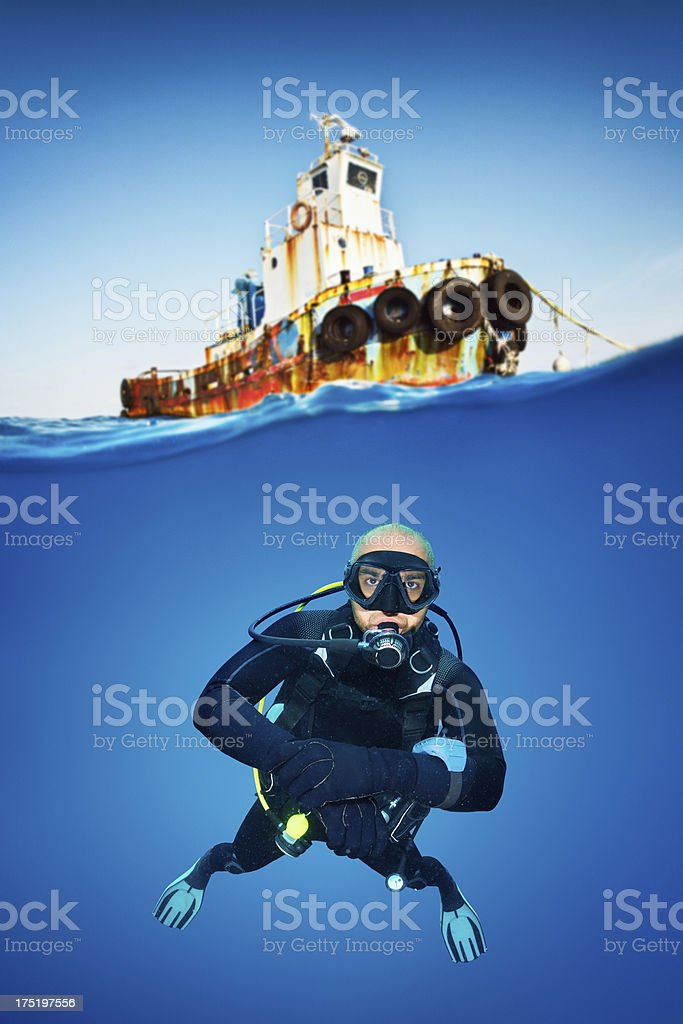 Rescue diver royalty-free stock photo