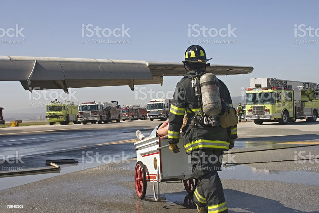 Rescue from Plane Crash (drill) royalty-free stock photo