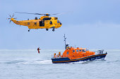 RAF Rescue helicopter and RNLI rescue boat in action
