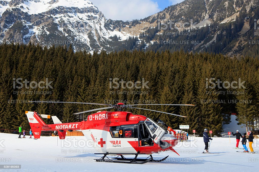 ARA rescue helicopter at Berwang in the Austrian Alps stock photo