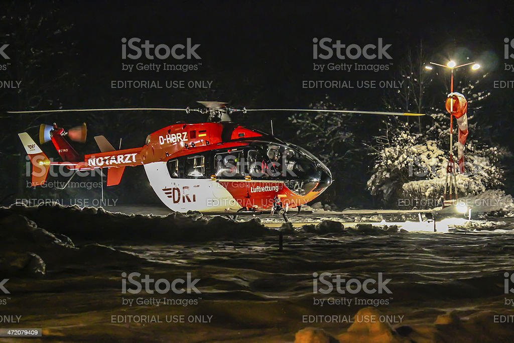 DRF rescue helicopter at night stock photo