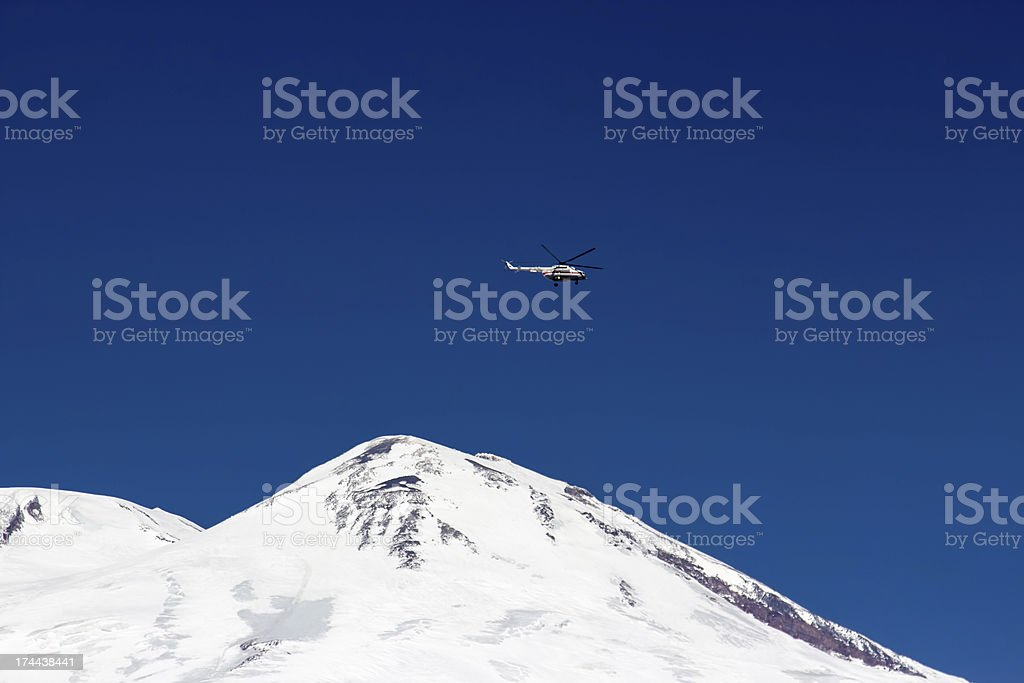 Rescue helicopter in the mountains royalty-free stock photo