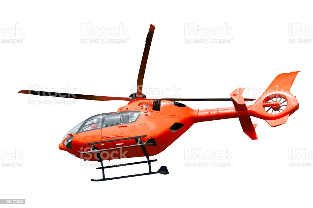 Rescue helicopter isolated stock photo