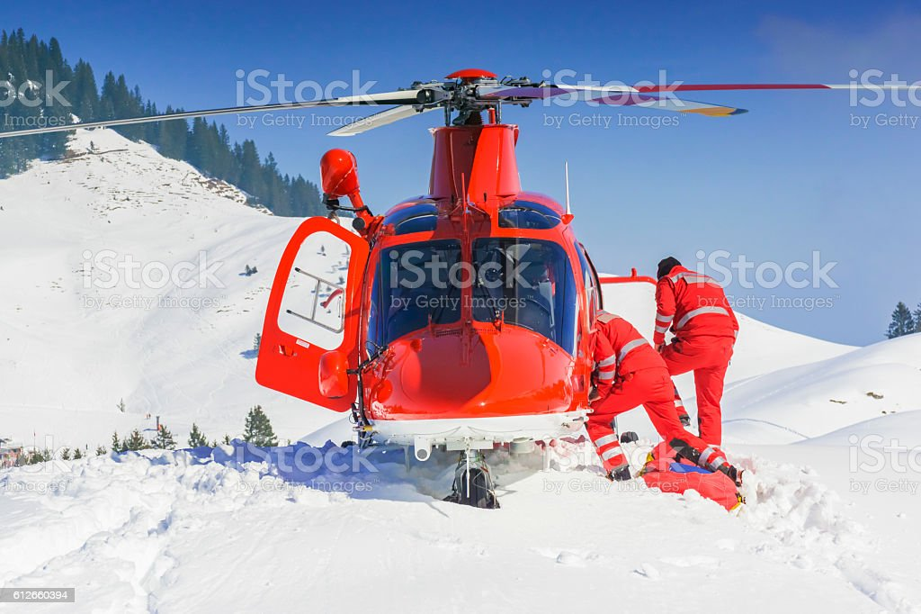 rescue helicopter team landed stock photo