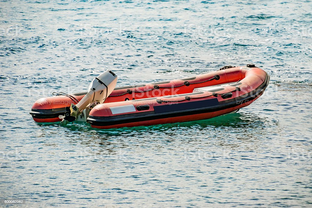Rescue inflatable rubber boat stock photo