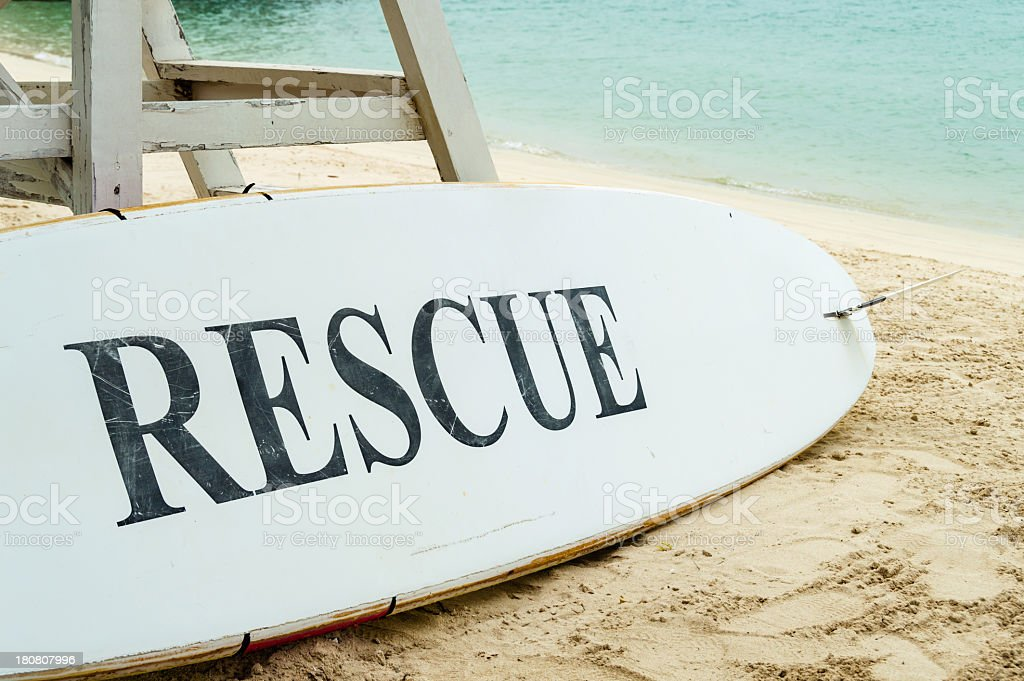 Rescue lifeguard surfboard at the beach royalty-free stock photo