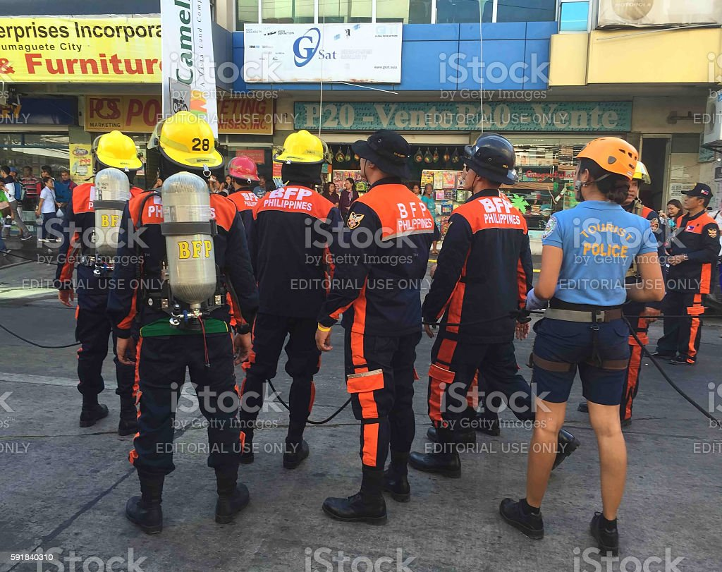 Rescue operation during a fire stock photo