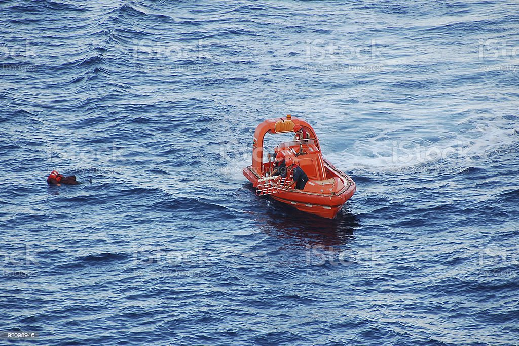 Rescue operation for man overboard royalty-free stock photo