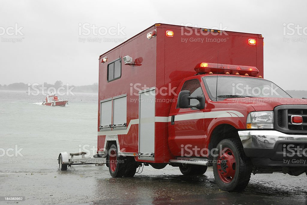 Rescue operation on rivers. stock photo