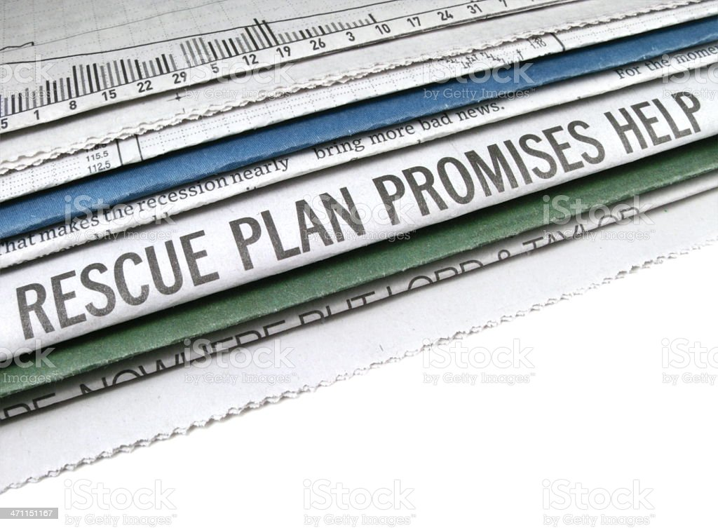 Rescue Plan Headline stock photo