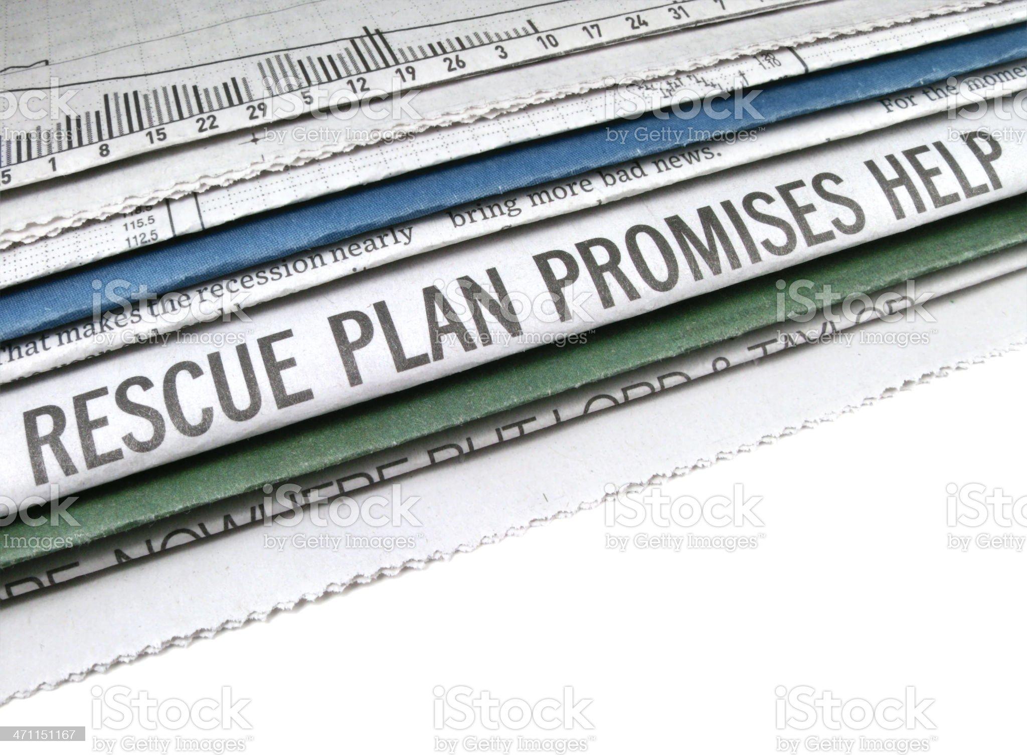 Rescue Plan Headline royalty-free stock photo