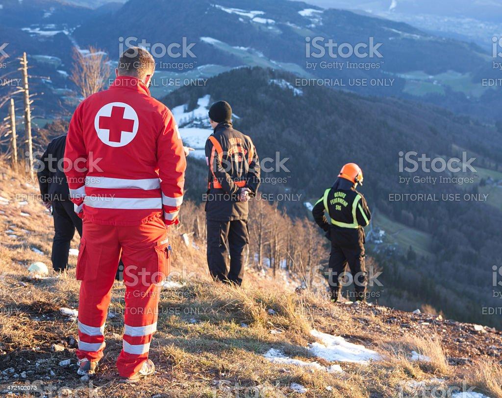 Rescue Service in the Alps stock photo