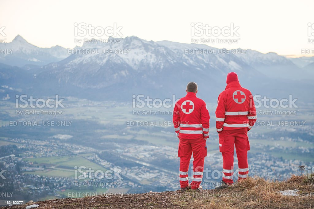 Rescue Service in the Alps stock photo