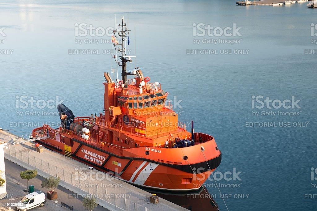 Rescue ship in the port of Mahon stock photo