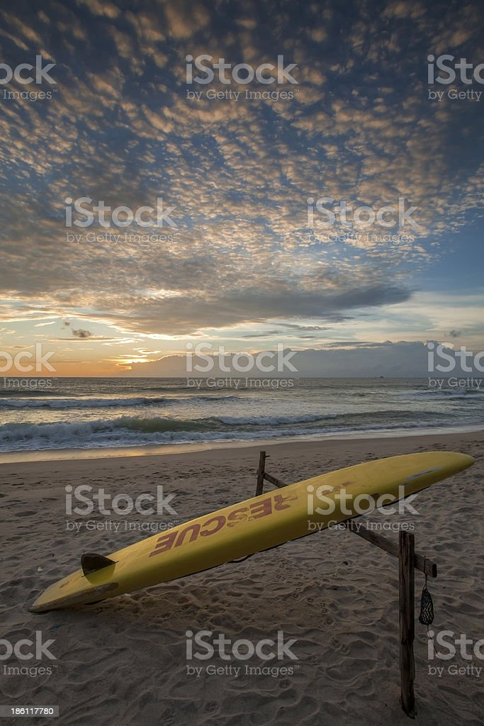 rescue surfboard stock photo