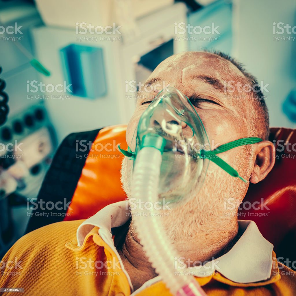 Rescue team first aid in the ambulance royalty-free stock photo