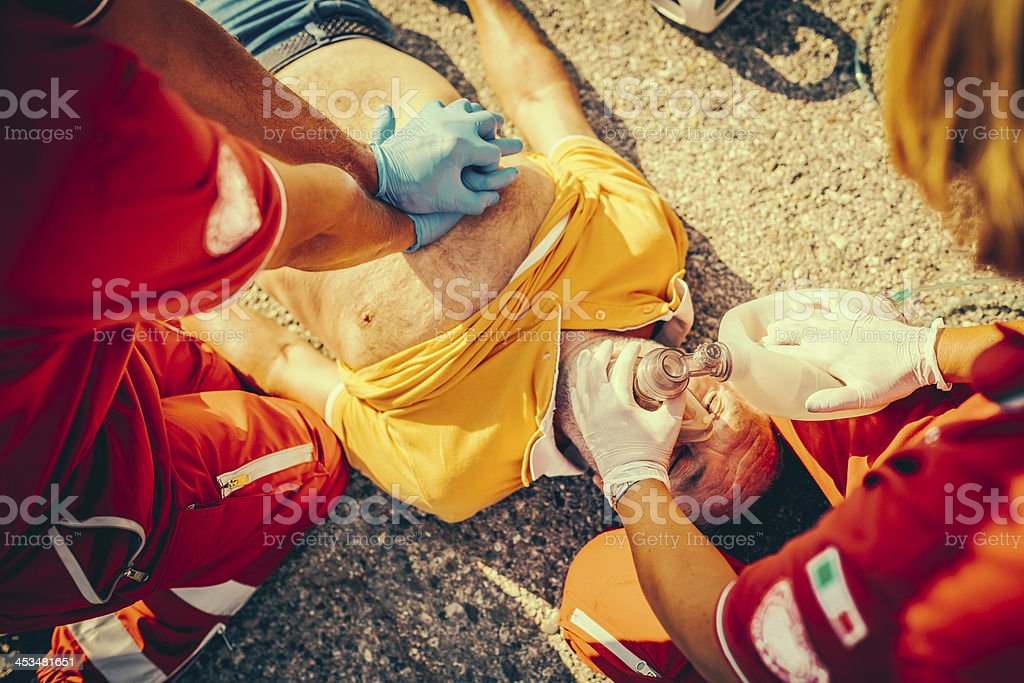 Rescue Team Providing First Aid royalty-free stock photo
