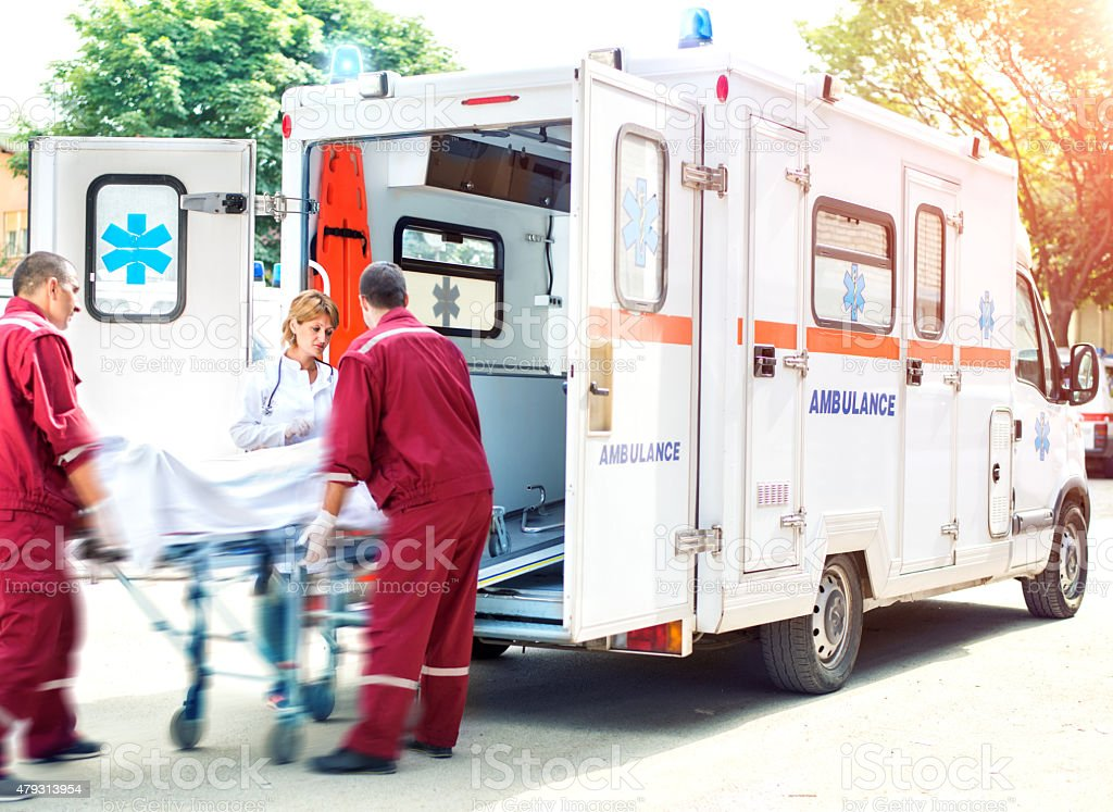 Rescue Team Providing First Aid stock photo