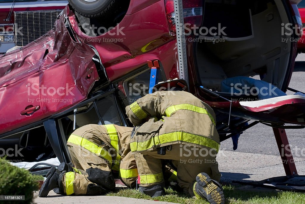 Rescue Team Stabilizing a Vehicle stock photo