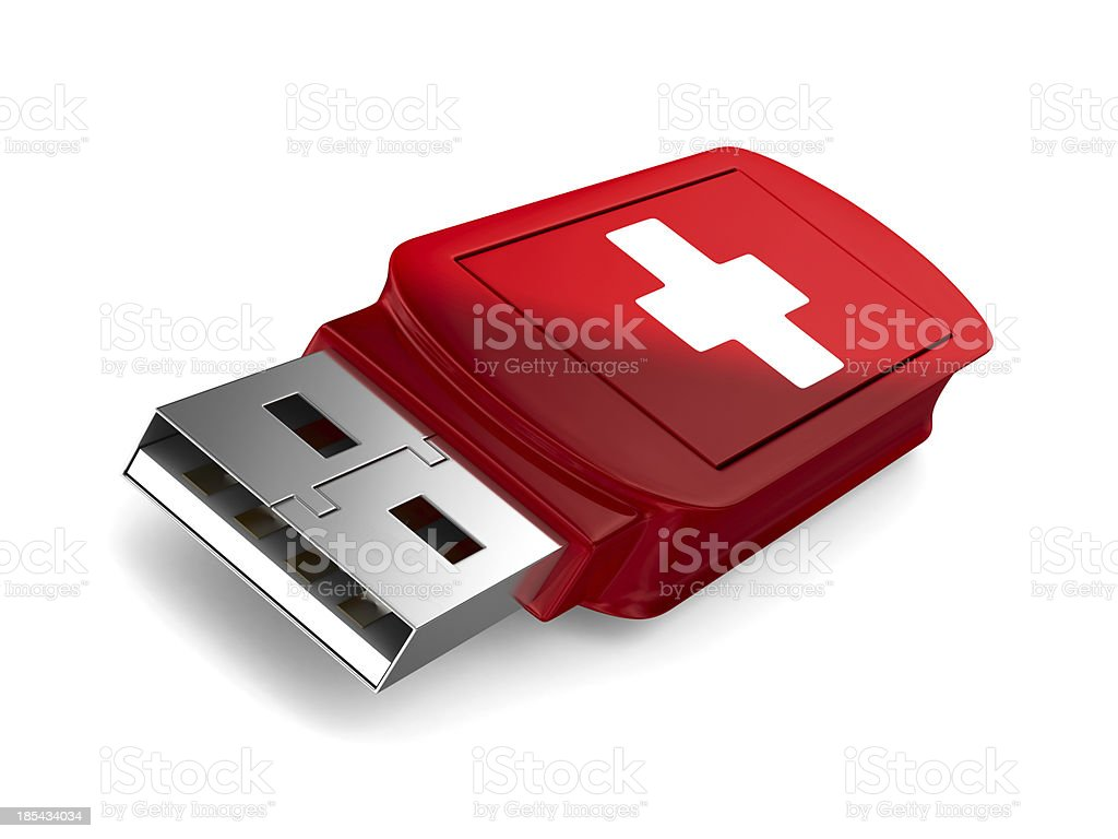 rescue usb flash drive on white background. Isolated 3D image royalty-free stock photo