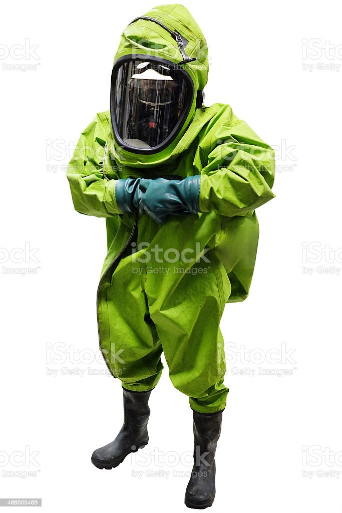 rescuer in a protective suit stock photo