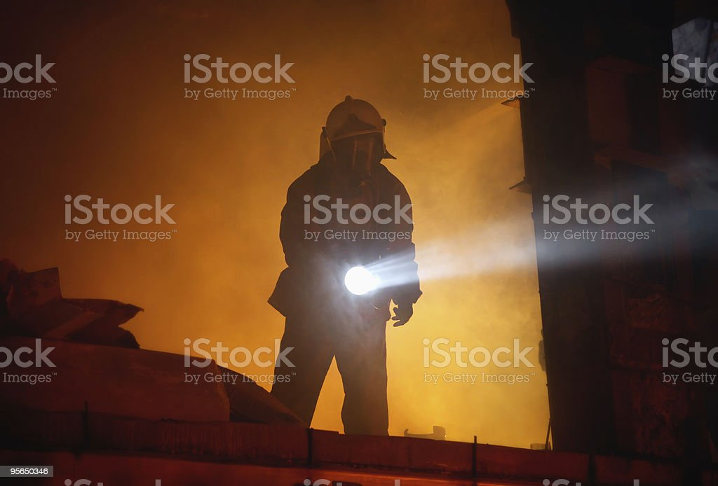 Rescuer search an accident victims stock photo