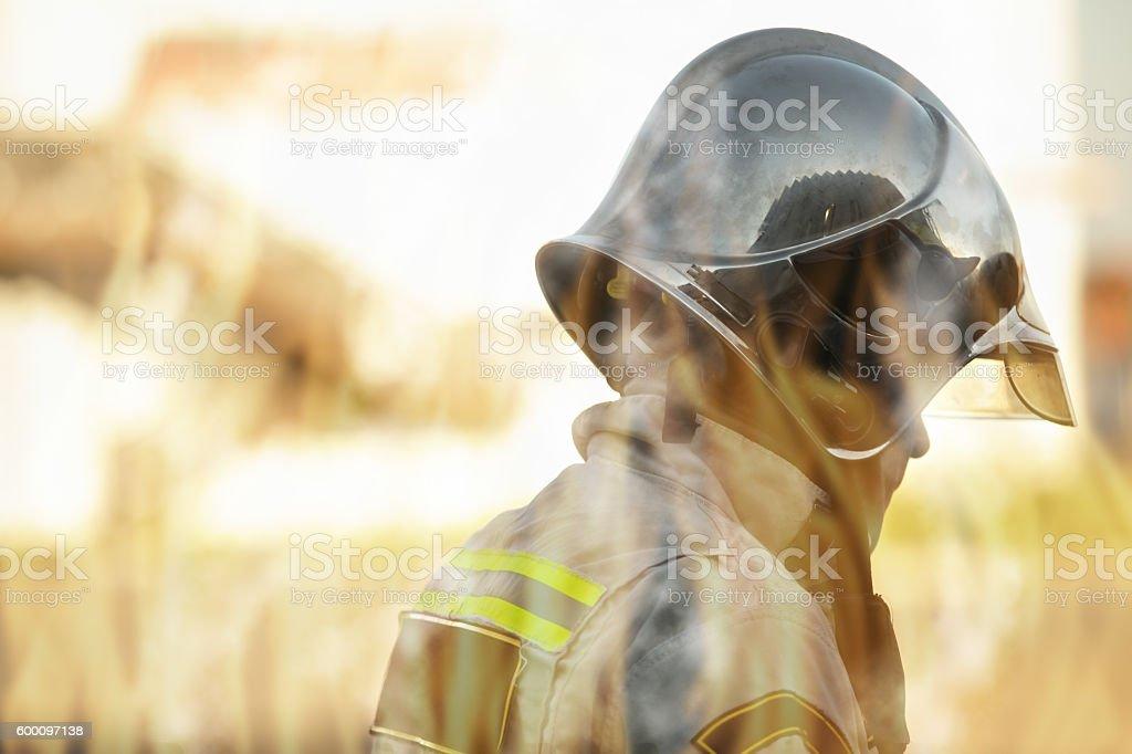 Rescuer view through flames stock photo