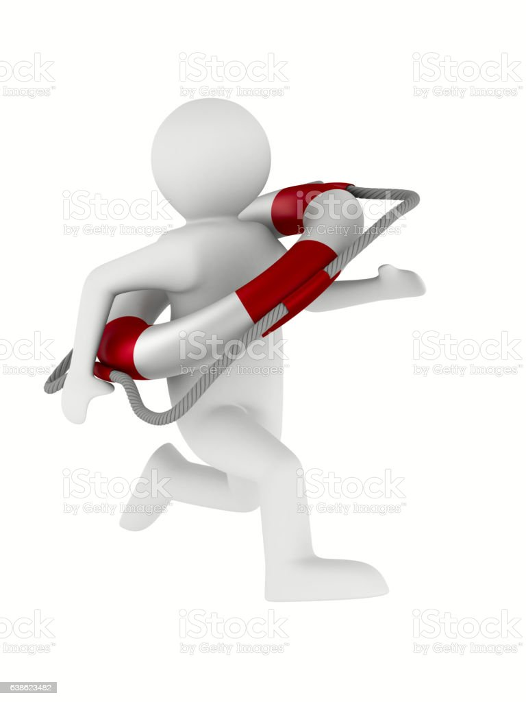 rescuer with lifebuoy ring on white background. Isolated 3D imag stock photo