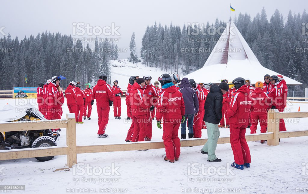Rescuers and instructors at the ski resort Bukovel stock photo