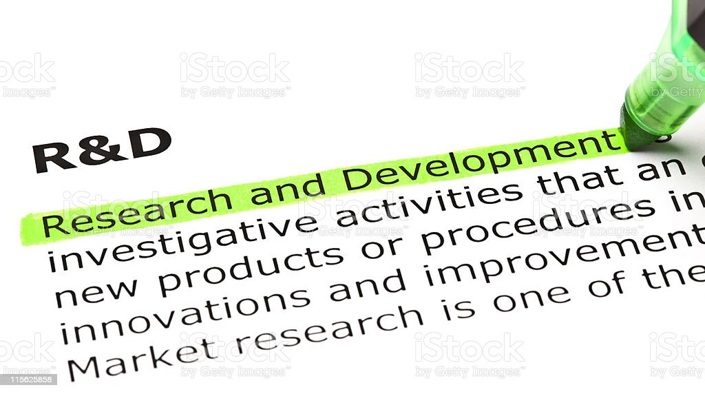 'Research and Development' highlighted in green stock photo