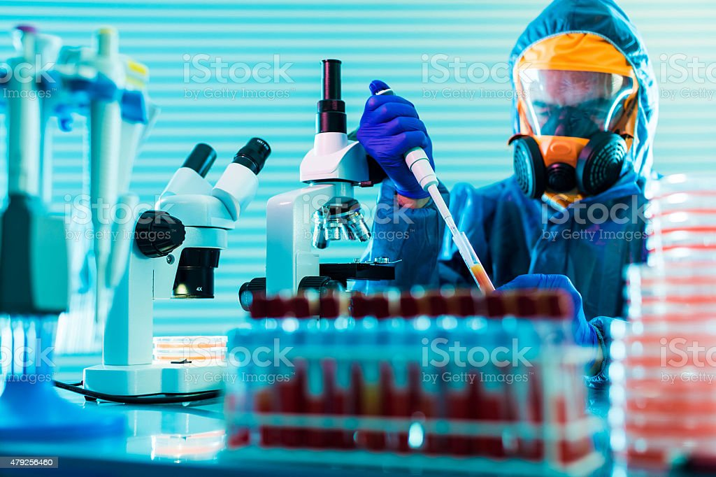 Research dangerous viruses in the laboratory stock photo