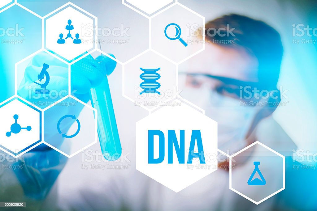 DNA research forensic science stock photo