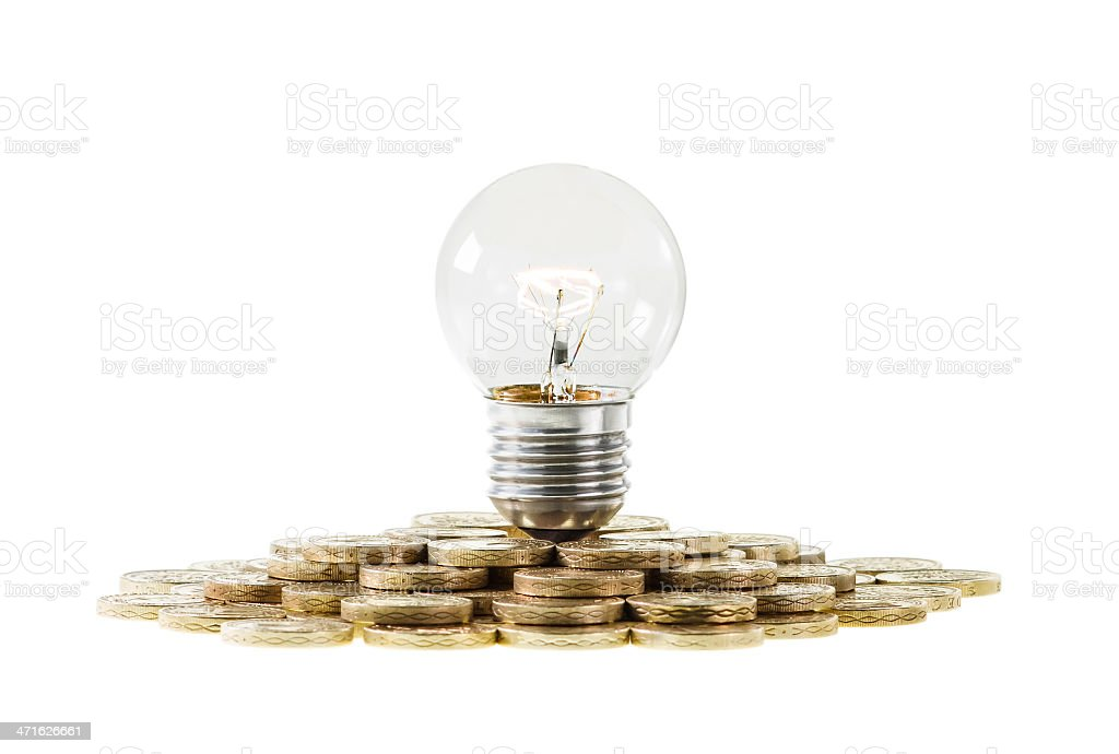 Research Funding Concept Light Bulb on Pile of Coins royalty-free stock photo